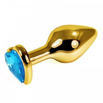 Анальная пробка с голубым камушком-сердечком золотого цвета