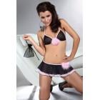 Полупрозрачный черно-розовый комплект Fumnanya L/XL