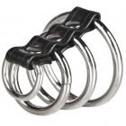Хомут на пенис из трех металлических колец и кольца для привязи 3 Ring Gates Of Hell